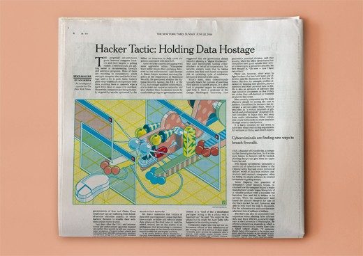 (II) The New York Times, Hacker Tactic: Holding Data Hostage (2014), editorial, 19½ � 13½ cm